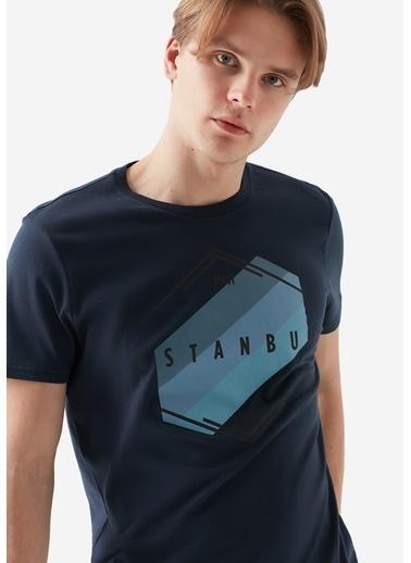 Mavi Baskılı Tişört Lacivert